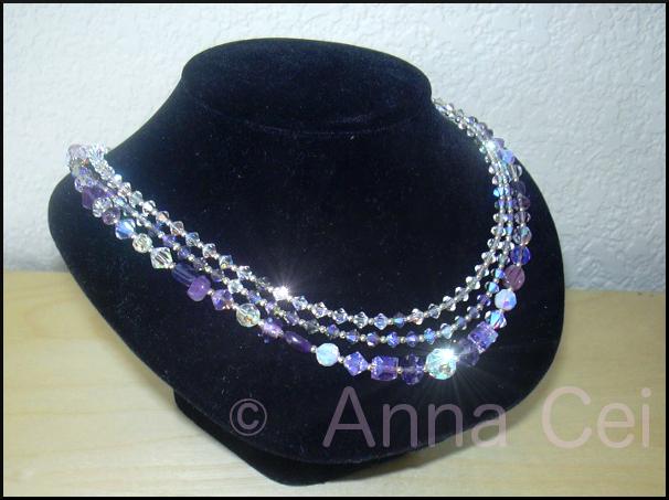3 strands necklace -Swarovski & gemstones
